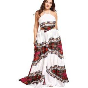 Plus Size Boho Style Halter Maxi Dress